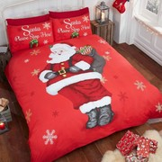 Santa Stop Here Father Christmas Duvet Cover Bedding Sets